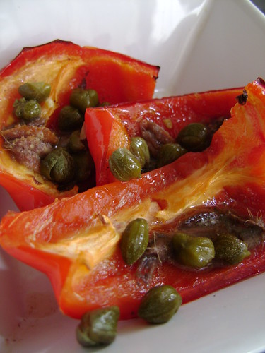 Grilled Peppers with Anchovies and Capers