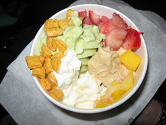 Pinkberry: Swirl frozen yogurt (plain, green tea, coffee) with mango, strawberry and captain crunch (inside)