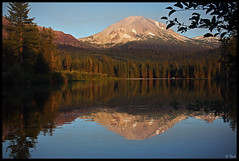 Lassen Peak reflected in Manzanita Lake, sunset (rickz) Tags: california ca sunset mountain lake snow reflection landscape mirror evening nationalpark afternoon dusk scenic peak lassen manzanita lassenvolcanicnationalpark manzanitalake lassenpeak lassenvolcano