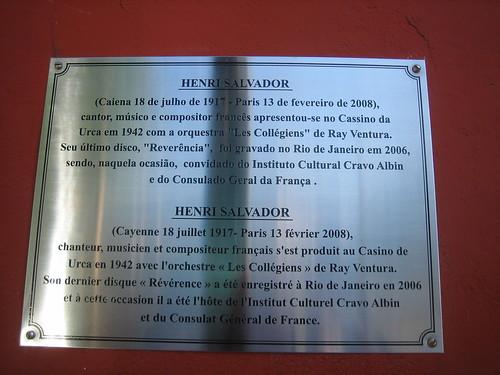 Plaque d'hommage à Henri Salvador lorsqu'il passa avec Ray Ventura à Rio, cliquez pour agrandir !