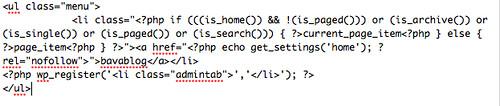 header.php menu code 2