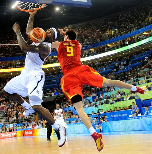 lebron james wallpaper 2009. USA#39;s Lebron James dunks as