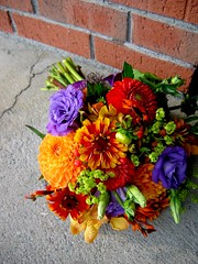 for my buddy mary... (morganiscool) Tags: dahlia flowers wedding red summer orange modern bride purple bright newhampshire nh fresh bouquet zinnia wildflower bridalbouquet valleyflowercompany