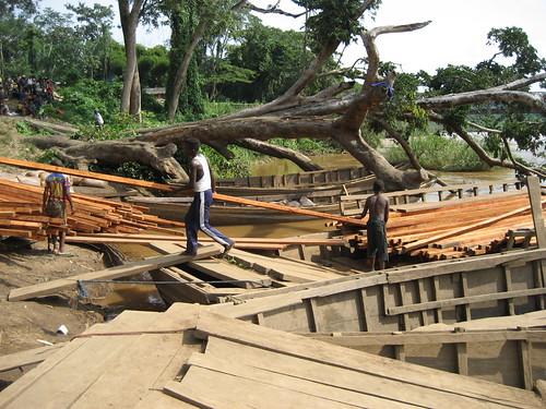 child labor unloading planks