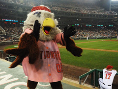 Washington Nationals mascot Screech on 70s night at Nationals Park