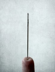 Balance (JenniPenni) Tags: macro texture pain finger surreal needle balance 365 conceptual simple overtheexcellence jennipenni
