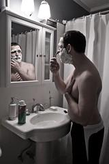 Day 248 - Your Typical Shaving Shot (lintmachine) Tags: portrait self bathroom mirror sink cream shaving hhnt 365days