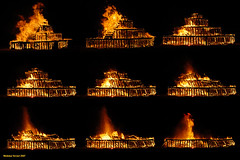 Rock Opera Collapse (naturalturn) Tags: usa art rock night fire opera nevada playa burningman blackrockcity burn montage 2007 rockopera burningman2007 image:rating=5 burningman:art=383 image:id=050479