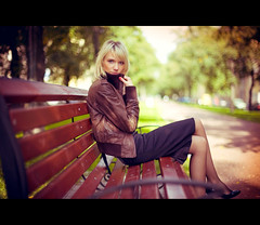 Before autumn (Geshpanets) Tags: autumn love girl beauty bench outside 50mm girlfriend outdoor skirt 5d elusive lightroom blondy 5014 canonef50mmf14usm russiangirl