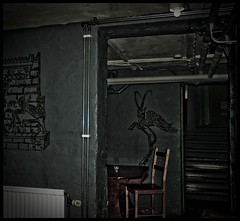 Winged goat and other monsters (gothicburg) Tags: monster night gteborg sweden gothenburg basement murals goat sverige winged creature lightroom mythological guessedgbg
