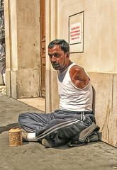 Beggar - DSCN8492 ep (Eric.Parker) Tags: street paris france arms candid beggar armless 2008 printemps handicapped streetperson grandsmagasins