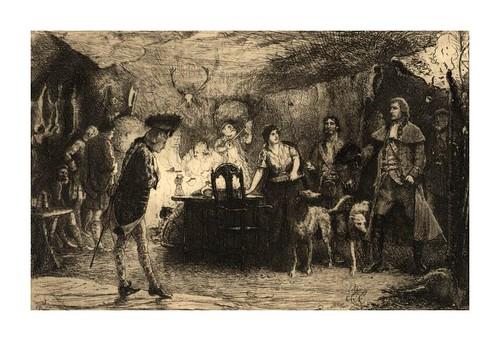 009- La bodega de un ladrón de  las Highland- Aguafuerte original de R. W. Macbeth para la novela Waverly de W. Scott