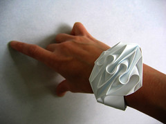 bracelet cuff (polyscene) Tags: sculpture white art paper origami surface jewellery polly fold wearable curve curved poly verity papersculpture developable polyscene pollyverity developablesurface