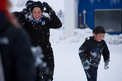 Emily Venables mid-snowfight at the Uummannaq Children's Home