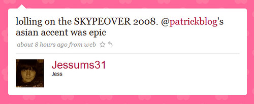 lolling on the SKYPEOVER 2008. @patrickblog's asian accent was epic