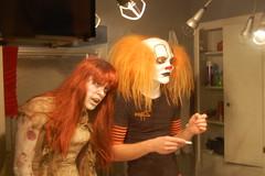 Harassing Klown in the bathroom (daveiam) Tags: halloween make diy zombie makeup acting hauntedhouse zombi specialfx mansionofterror aaronthezombi