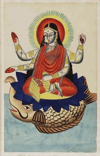 006- Ganga diosa del rio Ganges cabalgando un pez