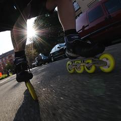 sunny ride (Toni_V) Tags: sunset sun me zurich skating fisheye inline rollerblading inlineskating matter d300 105mm 105mmf28gfisheye powerslide toniv toniv damniwishidtakenthat