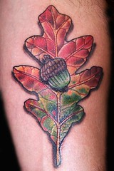 oak leaf tattoo (maliareynolds) Tags: autumn atlanta fall leaves leaf tattoos acorn memorialtattoo maliareynolds femaletattooer atlantatattooer
