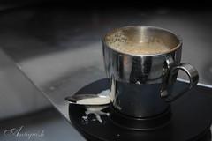 CoFfeE BrEaK (Antiquish) Tags: morning travel white black paris coffee breakfast silver cafe break spoon mug 2008 coffeebreak  cappicino