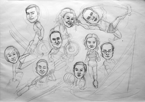 Group caricatures sketch for Microsoft APAC pencil sketch