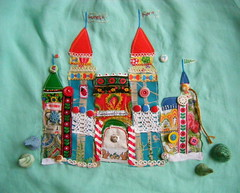 castle on linen (knitalatte11) Tags: handmade embroidery details fabric fiberart ricrac originaldesign vintagebuttons fabriccoveredbuttons embroideredribbon creativecrafts vintageandnew forestferncastle handstitchedandmachinestitched easterneuropeanscarffabric laracameronprint