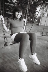 swingin' ayisse (jessiefish) Tags: camp bw white black playground cn john slim kodak wide tights swing baguio hay vivitar ultra uws c41 ayisse