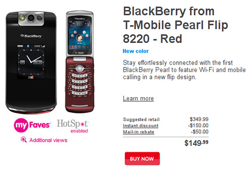 Blackberry Pearl Flip 8220 Rouge chez T-Mobile