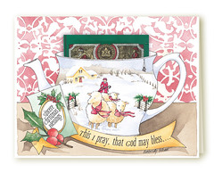 Lambs Christmas Card (Kimberly Shaw Graphics) Tags: christmas watercolor tea holly card lambs teacup greeting christmascard shepherdess