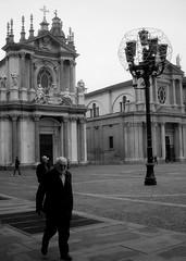 . (Borbuletachiara) Tags: bw lampost turin piazzasancarlo