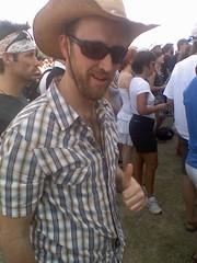 ACL Will (julie19144) Tags: music sunglasses festival beard outdoors texas chesthair will facialhair thumbsup plaid cowboyhat 2008 acl austincitylimits