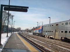 Westbound Metra commuter local arriving in Elmwood Park Illinois. Early Febuary 2008.