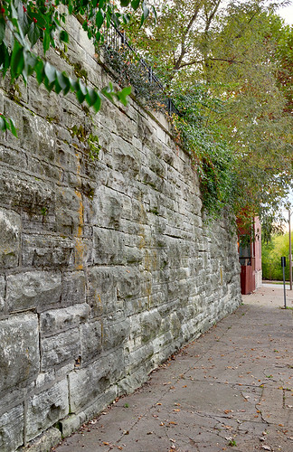 Lafayette Square Neighborhood, in Saint Louis, Missouri, USA - large stone wall