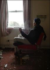 window light (Dr.Doo) Tags: selfportrait abandoned self chair derbyshire urbanexploration thinking tomas 365 doc contemplative scooby decayed ue hallsofresidence selfie urbex cigarettesmoke 365ish highpeakcollege staringouttwinda decrepitthebuildingandme