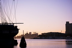 (m. wriston) Tags: city morning light silhouette sign dawn harbor nikon factory ship purple hill rope baltimore sugar inner mast domino nikkor federal constellation 55200mm d40