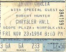 11/23/84 Robert Hunter opened for Jerry Garcia & John Kahn - Chrysler Hall, Norfolk, Virginia