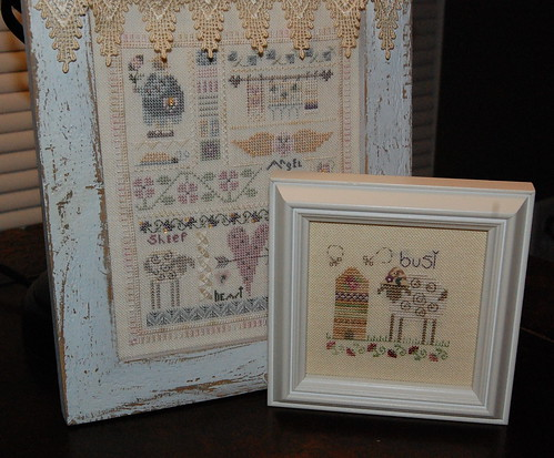 "Shepherd's bush ""French Heart"" and ""Busy Sheep"" Framed"
