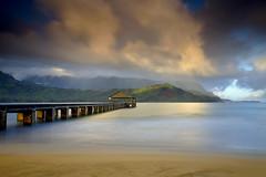 Light at the End of the Pier - Hanalei, Kauai (PatrickSmithPhotography) Tags: ocean travel wallpaper vacation sky usa seascape beach nature clouds sunrise landscape hawaii pier paradise pacific kauai 5d hanalei princeville 1740l awardedbipg