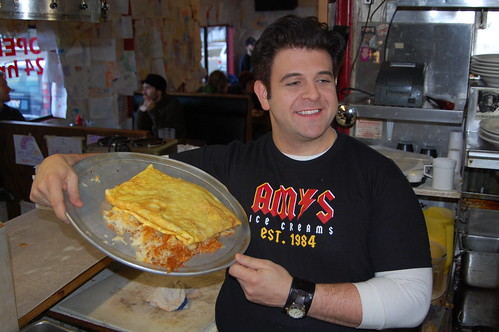 Adam poses with the talent omelet