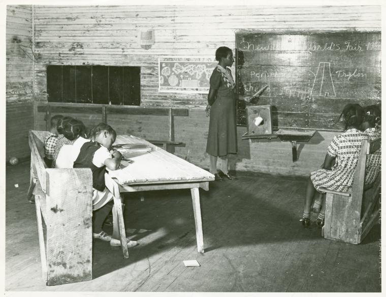 Interior of school on Mileston Plantation