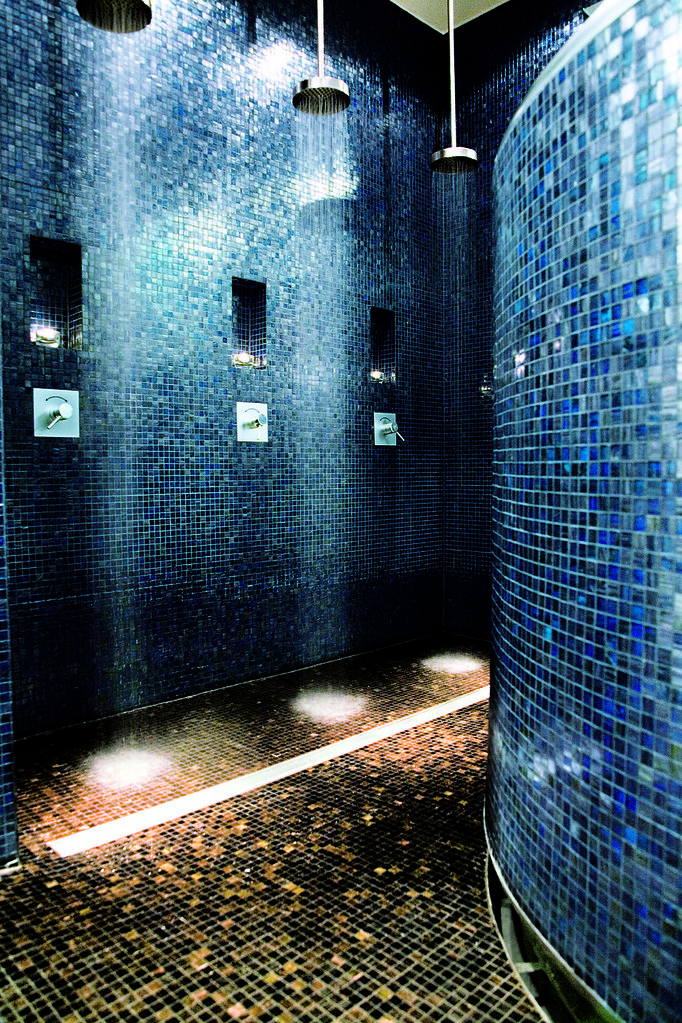 Trendy blue tiles in the Welness Shower Area at the Hotel Concorde Berlin in Germany