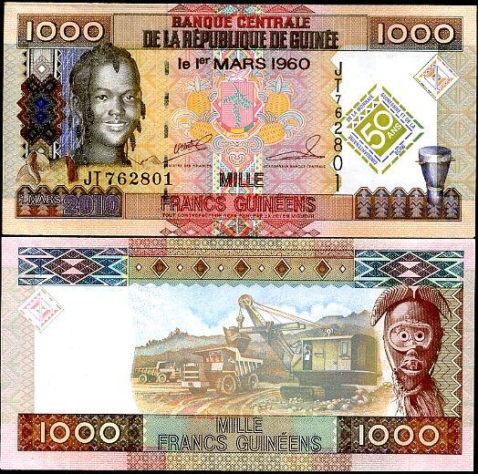 1000 Frankov Guinea 2010 pamätné vydanie