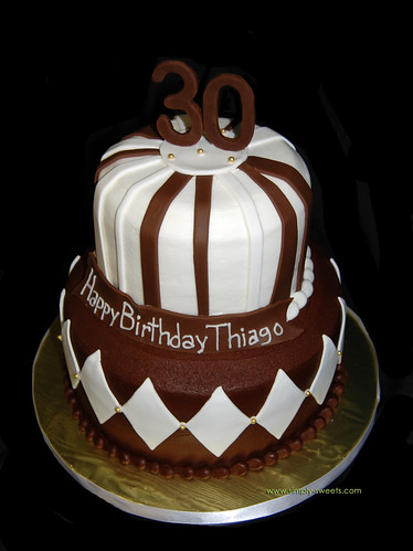 Brown, white and gold 30th Birthday cake