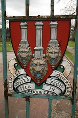 A crest on a gate (John.P.) Tags: uk london cemetery gum gate lion crest cannon woolwich eltham