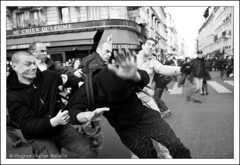(Hughes Lglise-Bataille) Tags: blackandwhite bw paris france topf25 students education noiretblanc protest police spray demonstration teachers 2008 arrest ecole manif manifestation profs lycens darcos professeurs