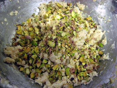 Cookie Batter and Crushed Pistachios