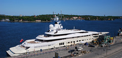 Roman Abramavich's yacht (Globalviewfinder) Tags: trip travel summer vacation sun white holiday water europe chelsea barco break roman sweden stockholm yacht weekend rich pad rico helicopter billionaire russian backpacker luxury wealth scandanavia pelorus nikond80 abramavich