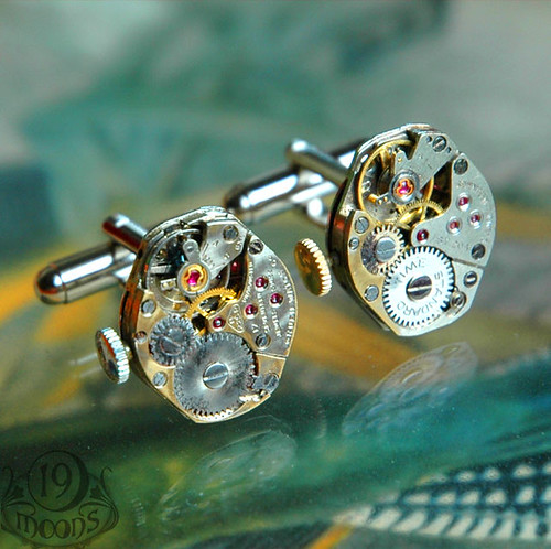 Steampunk Vintage Watch Movement Cufflinks by 19 Moons