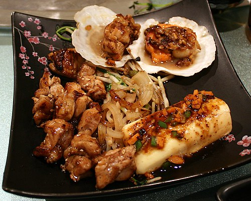Chicken set main items - scallops, vegetables, tofu steak, grilled chicken cubes