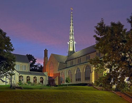 Saint James the Greater Roman Catholic Church, in Saint Louis, Missouri, USA - exterior at dusk